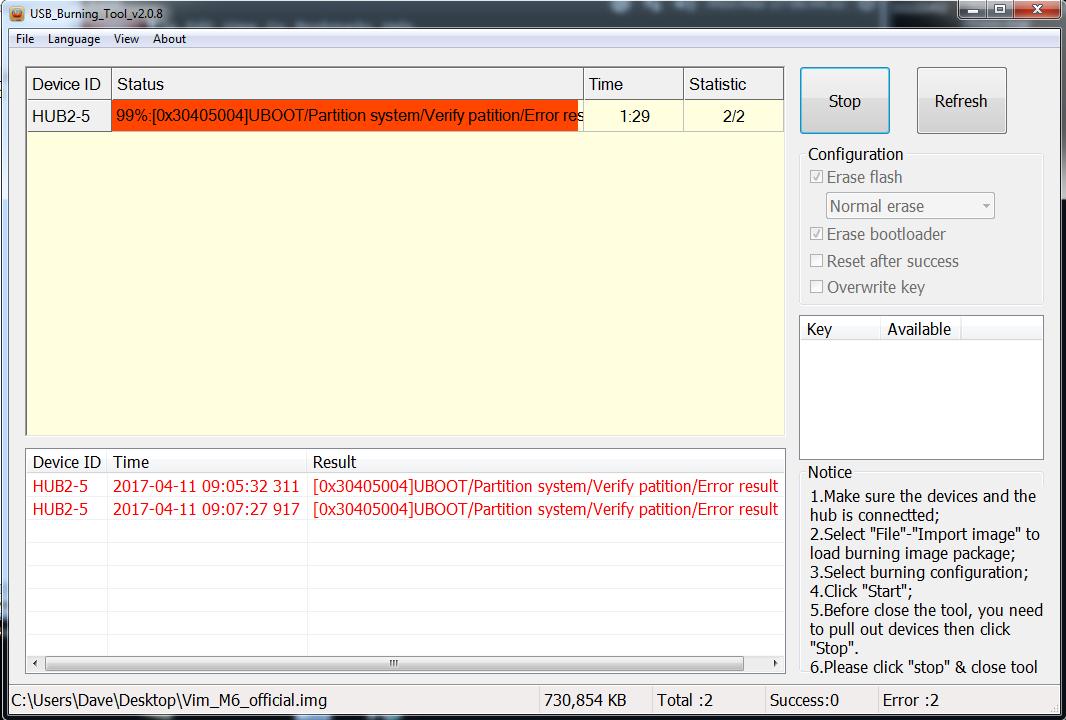 Error - Upgrade Via USB Cable - Technical Support - Khadas